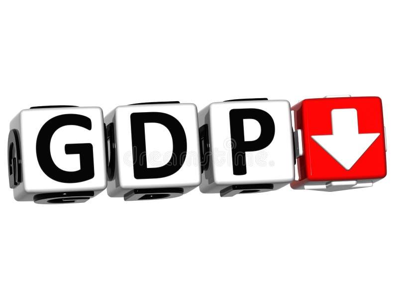 texte de cube en bloc de bouton du PIB 3D illustration libre de droits