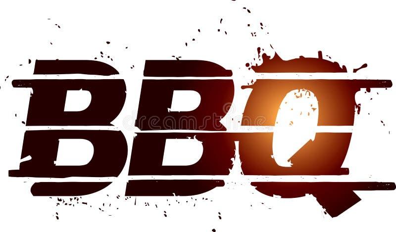 Texte de dessin de gril de BBQ illustration stock