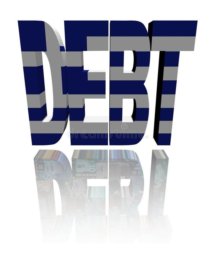 Texte de dette avec l'indicateur et les euro grecs illustration stock
