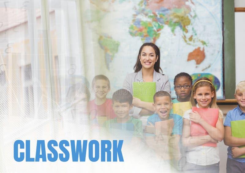 Texte de devoirs et maître d'école élémentaire avec la classe photographie stock libre de droits