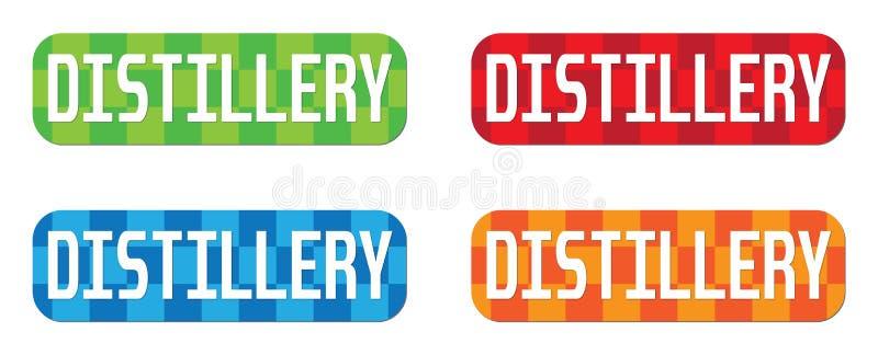 Texte de DISTILLERIE, sur le rectangle, signe de timbre de modèle de zigzag illustration libre de droits