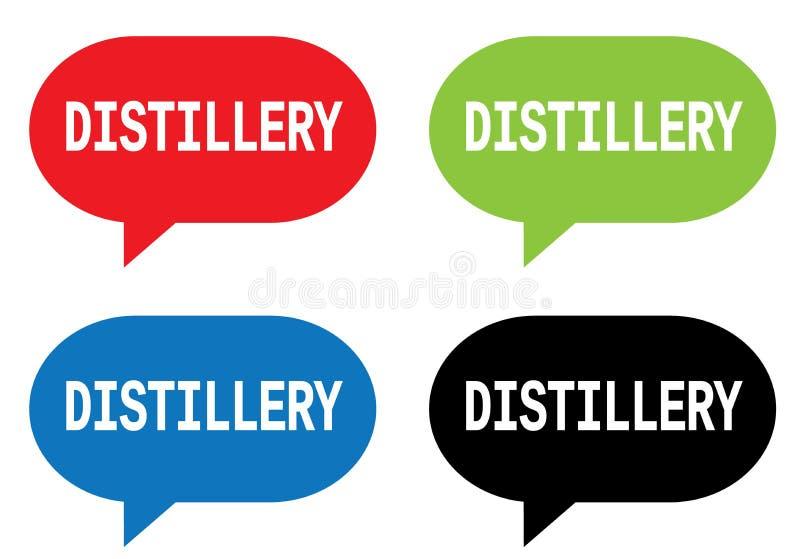 Texte de DISTILLERIE, sur le signe de bulle de la parole de rectangle illustration de vecteur