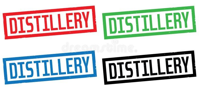 Texte de DISTILLERIE, sur le signe de timbre de frontière de rectangle illustration stock