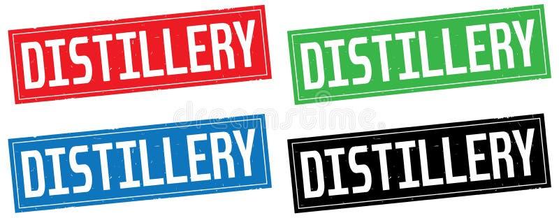 Texte de DISTILLERIE, sur le signe de timbre de rectangle illustration stock