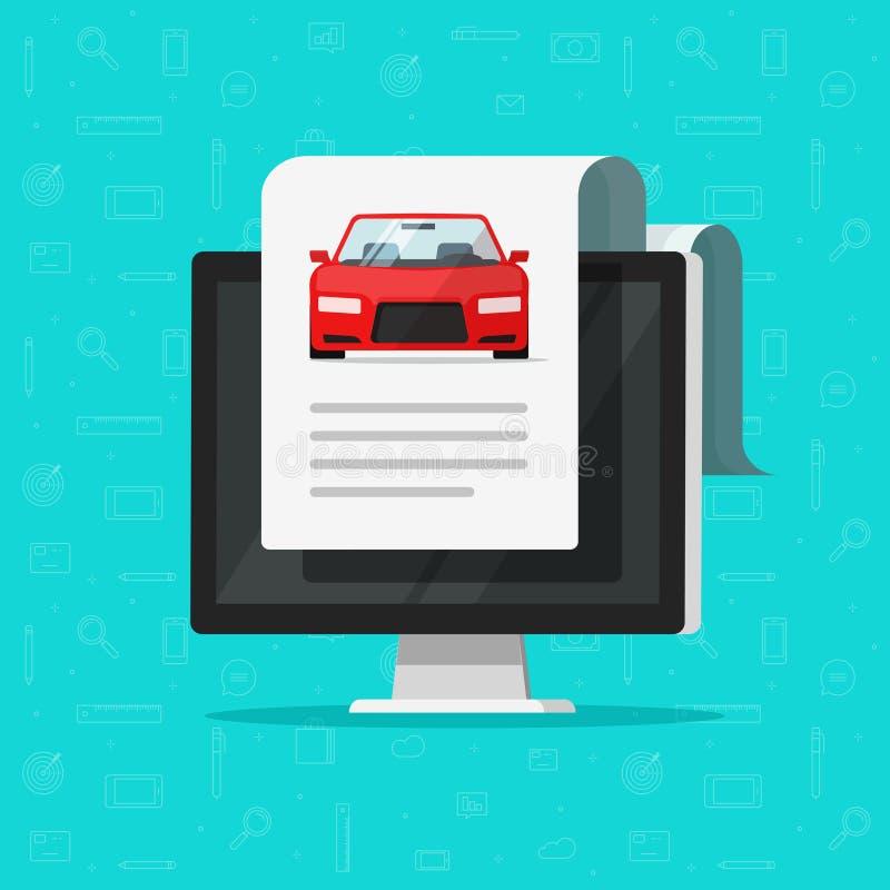 Texte de document de voiture sur l'illustration de vecteur d'ordinateur, automobile plate avec le rapport de papier en ligne de d illustration stock