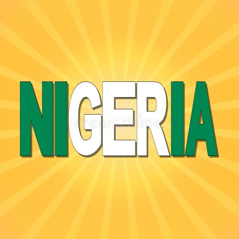 Texte de drapeau du Nigéria avec l'illustration de rayon de soleil illustration libre de droits