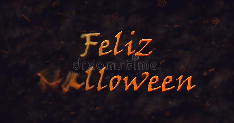 Texte de Feliz Halloween dans la dissolution espagnole dans la poussière vers la gauche illustration de vecteur