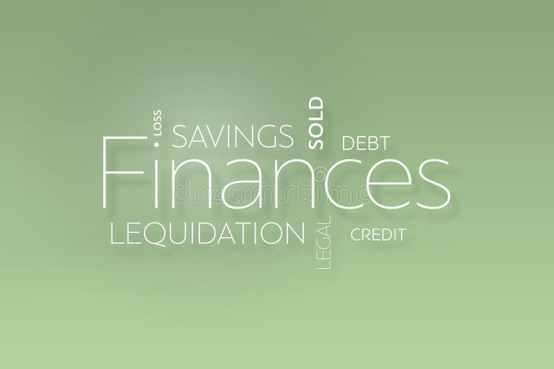 Texte de finances sur le vert illustration stock