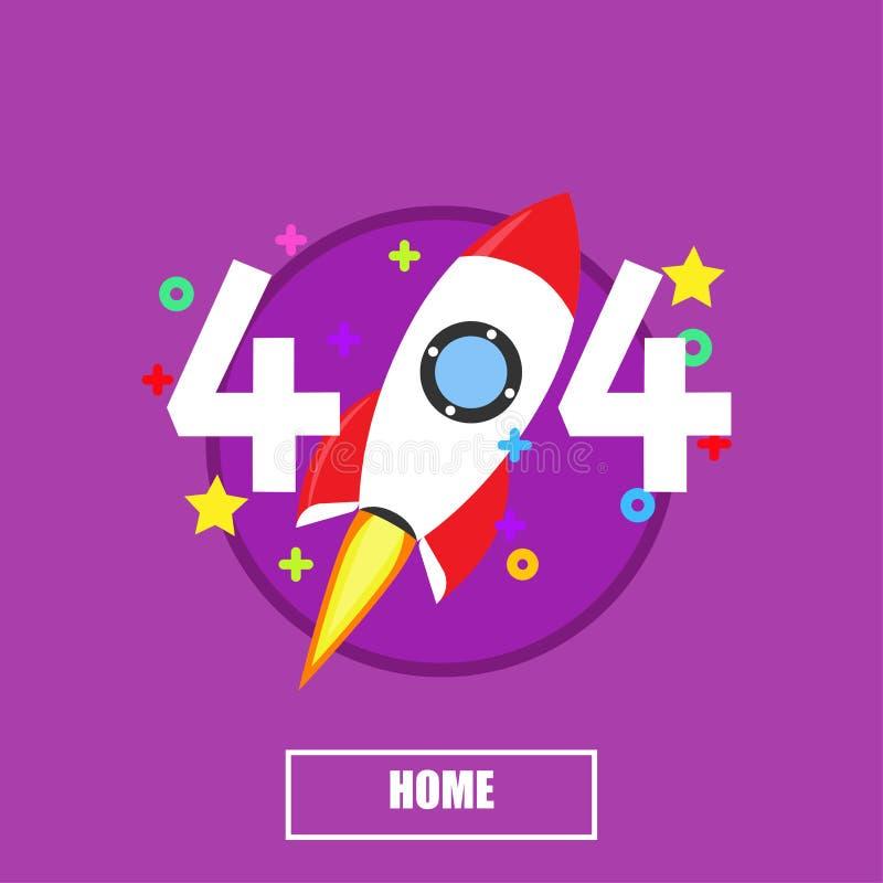 texte de fond de page d'erreur de 404 fusées Bannière graphique trouvée de site Web d'information d'isolement Oh là là ! ne pas r illustration libre de droits
