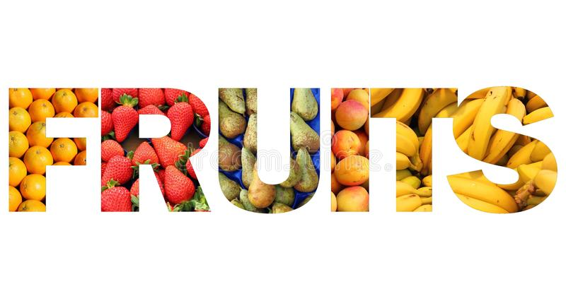 Texte de fruits image libre de droits