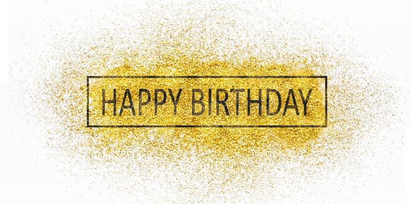 Texte de joyeux anniversaire sur les étincelles dispersées d'or photo libre de droits