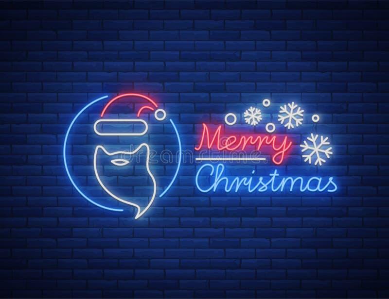 Texte de Joyeux Noël, calibre de lettre de conception de calibre, couverture dans un style au néon Affiche lumineuse de cadeau de illustration stock