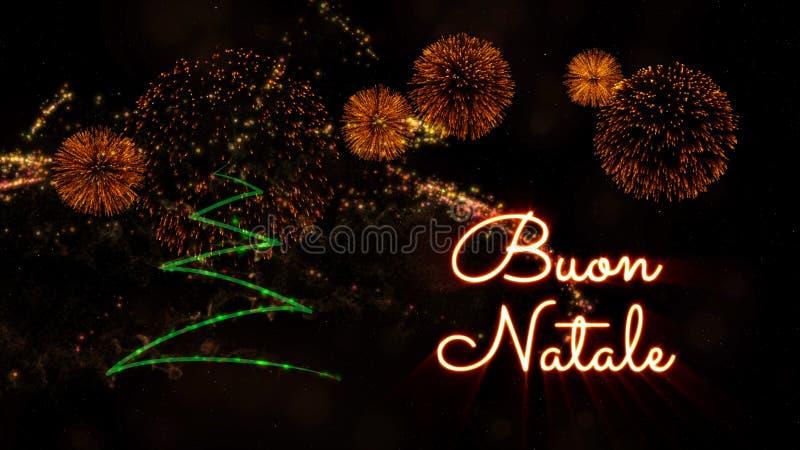 """Texte de Joyeux Noël dans """"Buon italien Natale"""" au-dessus de pin et de feux d'artifice images libres de droits"""