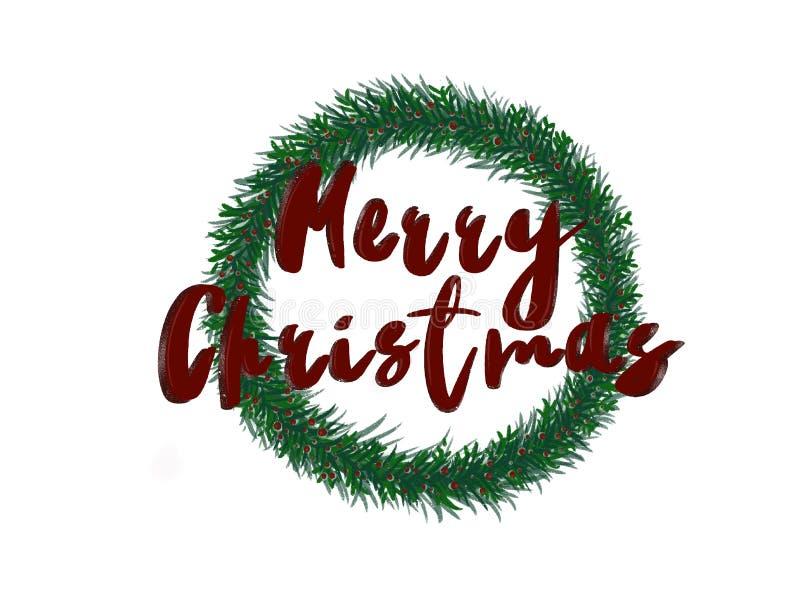 Texte de Joyeux Noël se connecter la guirlande élégante de Noël avec b rouge illustration libre de droits