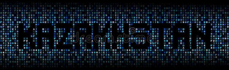 Texte de Kazakhstan sur l'illustration de code de sortilège illustration stock
