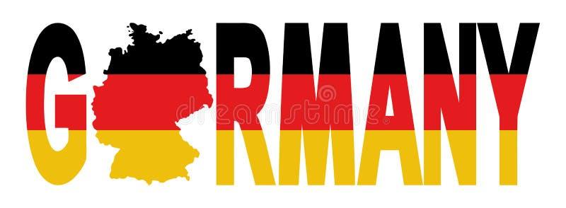 Texte de l'Allemagne avec la carte illustration de vecteur