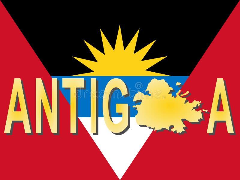 Texte de l'Antigua avec la carte illustration libre de droits
