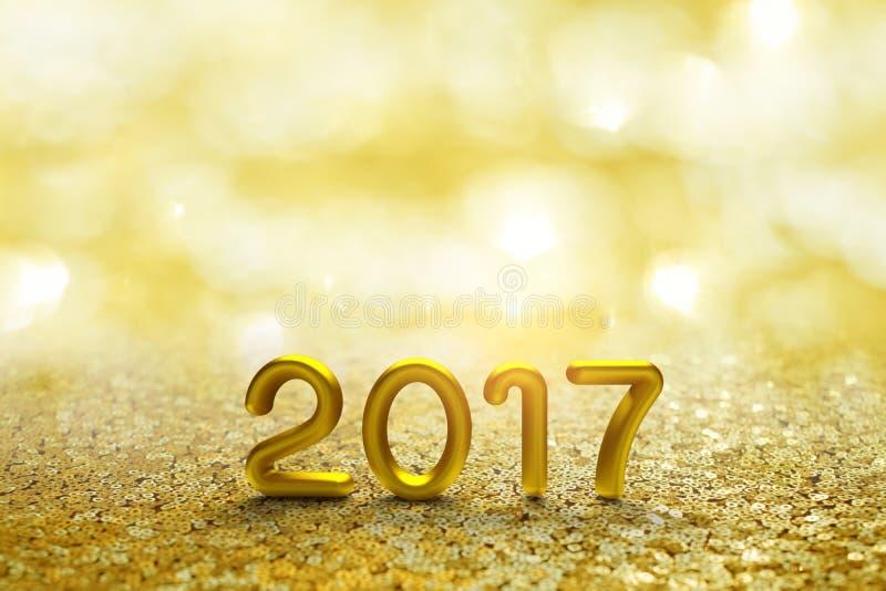 Texte de l'or 2017 sur le bokeh d'or photo libre de droits