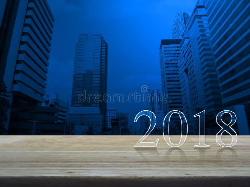 Texte de la bonne année 2018 sur la table en bois photographie stock