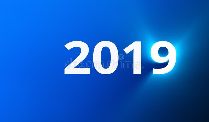 Texte de la nouvelle année 2019 avec l'effet de la lumière illustration de vecteur