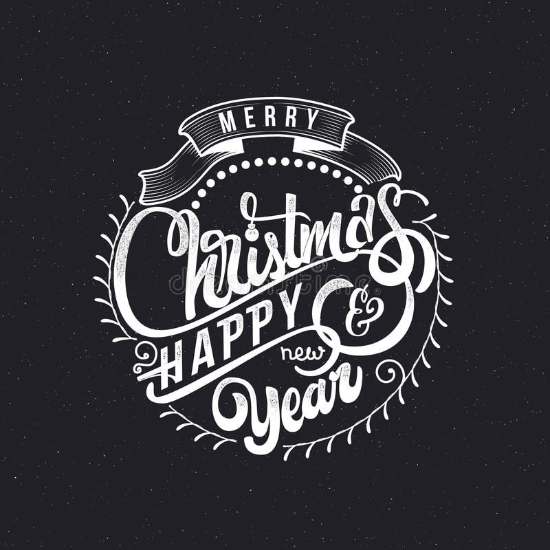 Texte 2017 de main-lettrage de Joyeux Noël et de bonne année Calligraphie faite main de vecteur pour votre conception illustration libre de droits