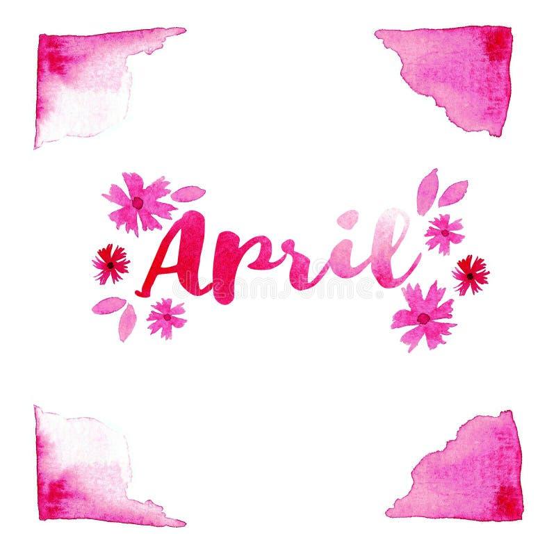 Texte de mot d'avril typographie de lettrage Illustration rose en pastel d'abrégé sur aquarelle pour l'affiche, carte postale, ca illustration libre de droits