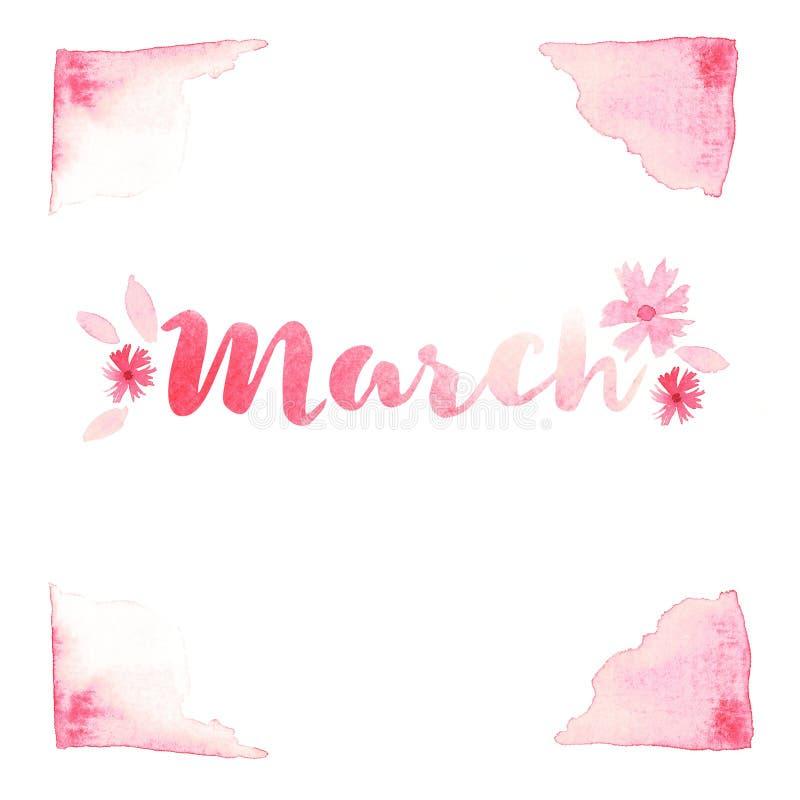 Texte de mot de mars typographie de lettrage Illustration d'abrégé sur aquarelle de rose pour l'affiche, carte postale, carte de  illustration de vecteur