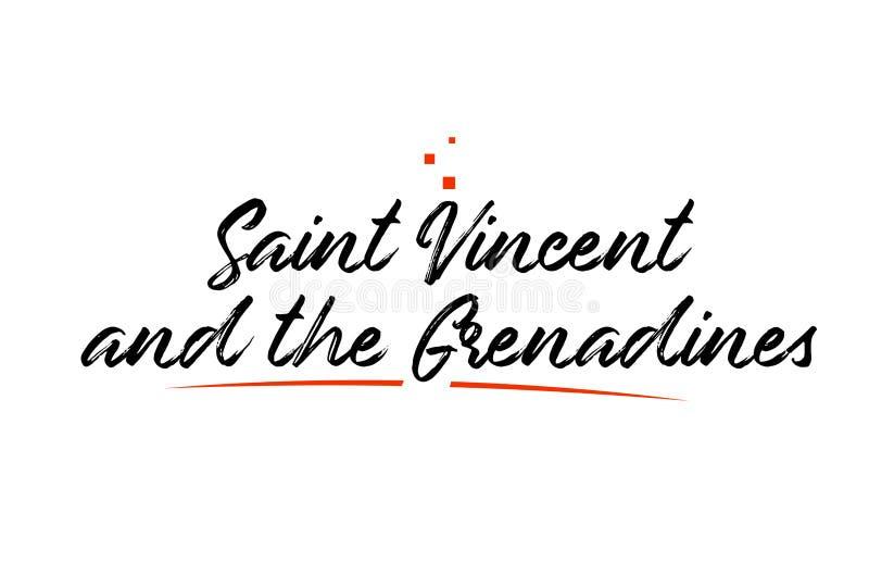 Texte de mot de typographie de pays de Saint-Vincent-et-les-Grenadines pour la conception d'icône de logo illustration de vecteur