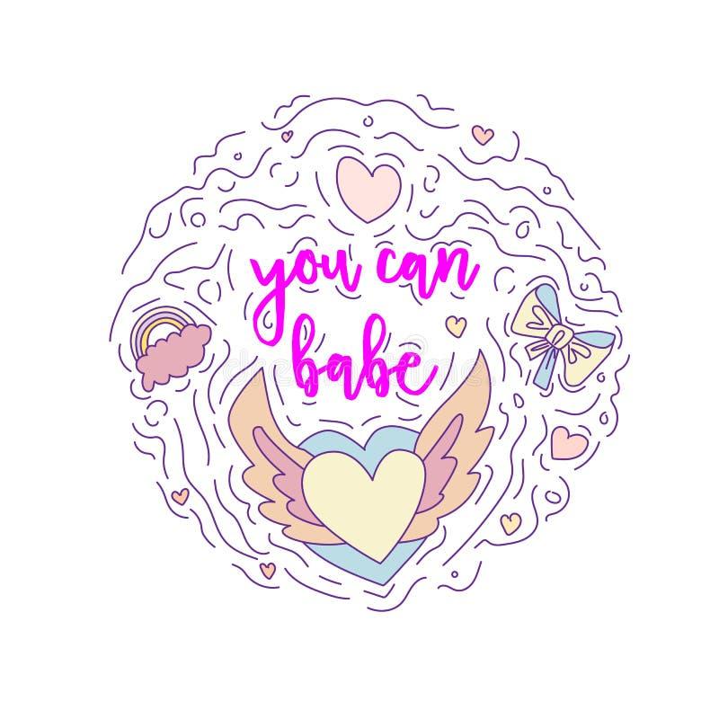 Texte de motivation de griffonnage - vous pouvez bébé en forme ronde colorée Citation mignonne de motivation de vecteur d'amuseme illustration libre de droits