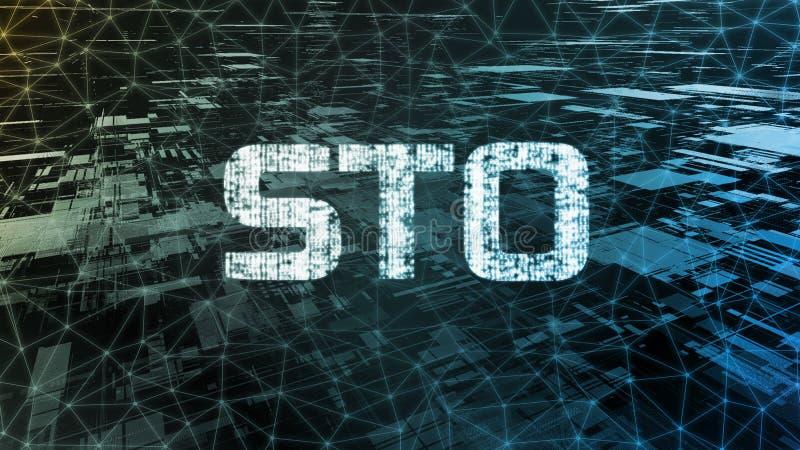Texte de offre symbolique de la sécurité STO écrit dans le format binaire sur la connexion réseau de câble au-dessus du fond abst image stock