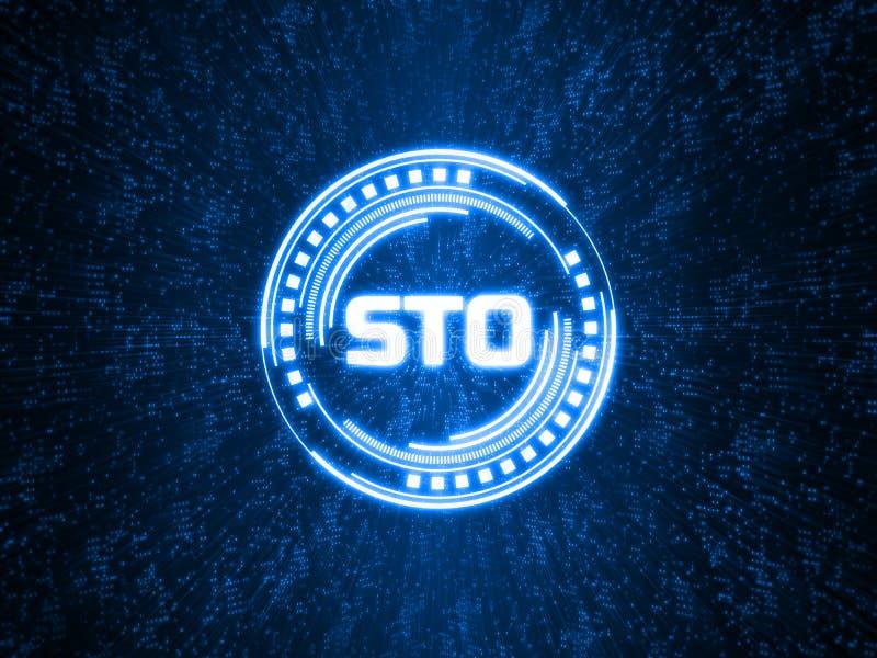 Texte de offre symbolique de la sécurité STO écrit dans le format binaire sur le fond abstrait de la géométrie de points illustration libre de droits