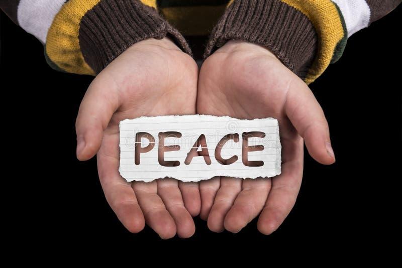 Texte de paix en main photo stock