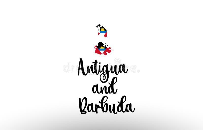 Texte de pays de l'Antigua-et-Barbuda grand avec le drapeau à l'intérieur du logo de concept de carte illustration stock
