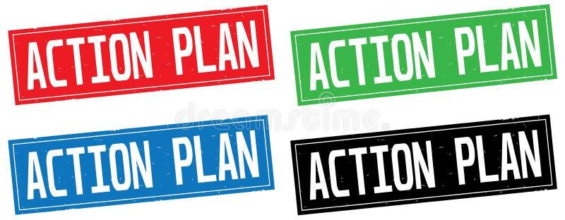 Texte de PLAN D'ACTION, sur le signe de timbre de rectangle illustration libre de droits