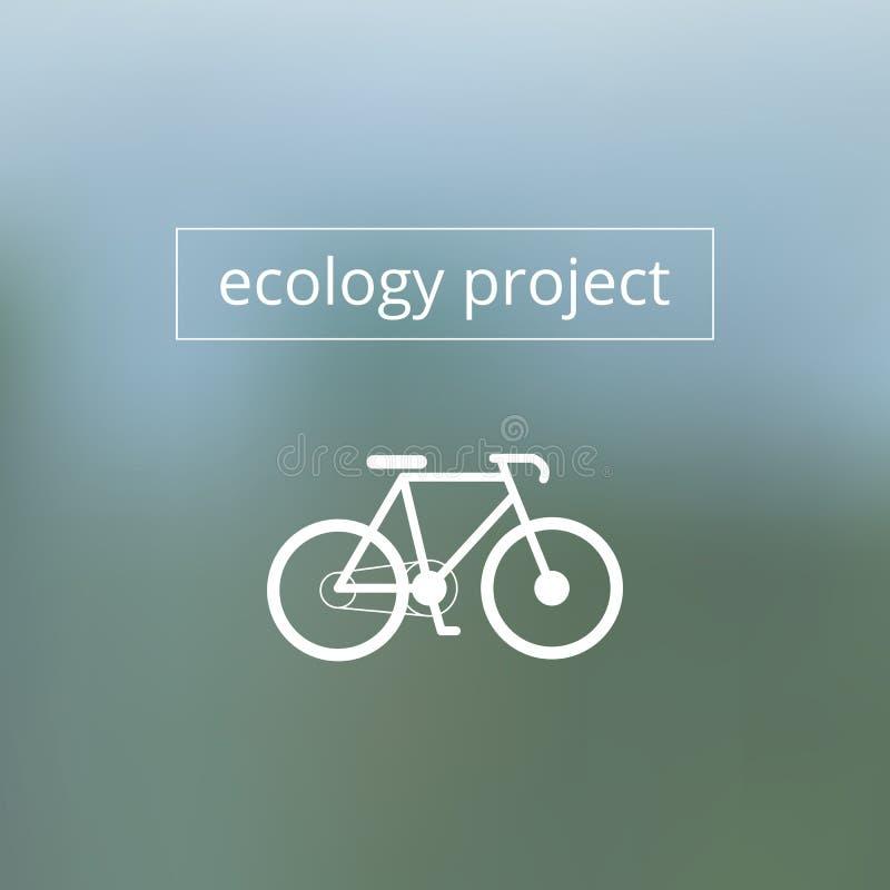 Texte de projet d'écologie avec la bicyclette sur brouillé illustration de vecteur