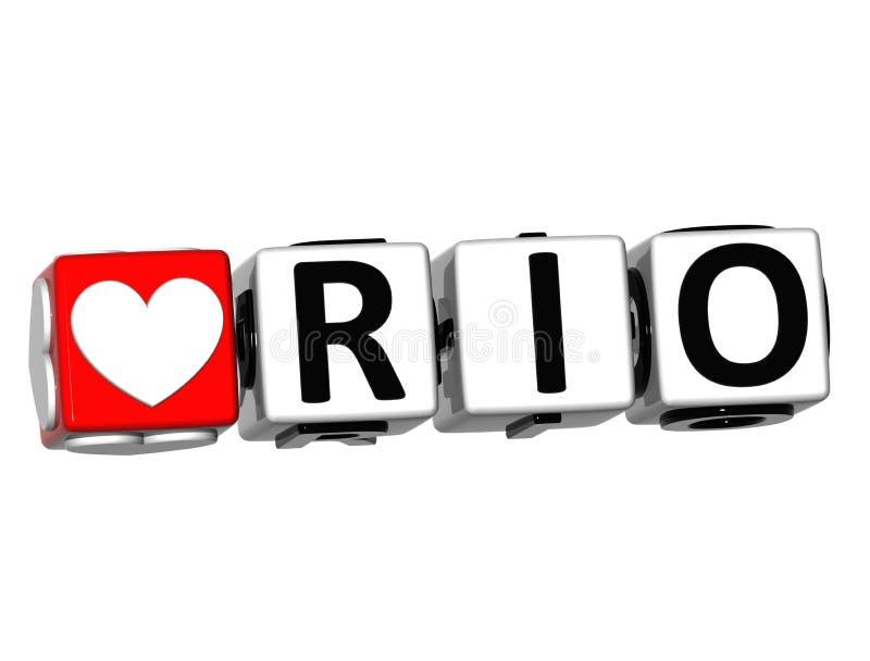 texte de Rio Button Click Here Block de l'amour 3D illustration stock