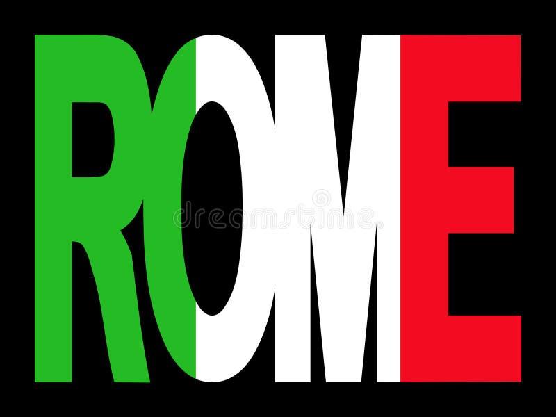 Texte de Rome avec l'indicateur italien illustration stock