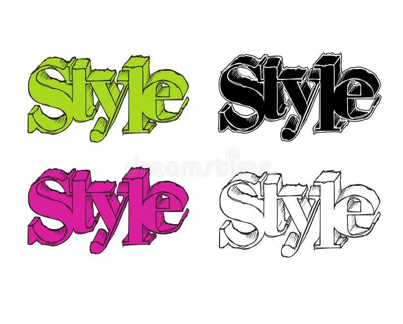 Texte de style Style d'inscription Texte de style dans différentes couleurs illustration de vecteur