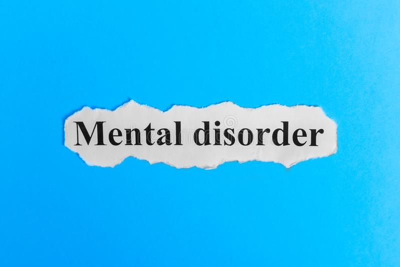 Texte de trouble mental sur le papier Exprimez le trouble mental sur un morceau de papier texte debout de reste d'image de figuri image libre de droits