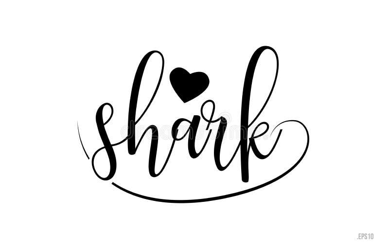 texte de typographie de requin avec le coeur d'amour illustration de vecteur