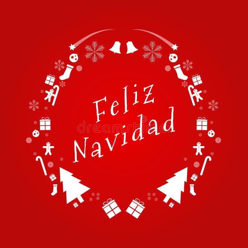 Texte de vecteur de Joyeux Noël dans l'Espagnol Calibre de carte de conception Décoration créative de capitaux de Noël pour la sa illustration de vecteur