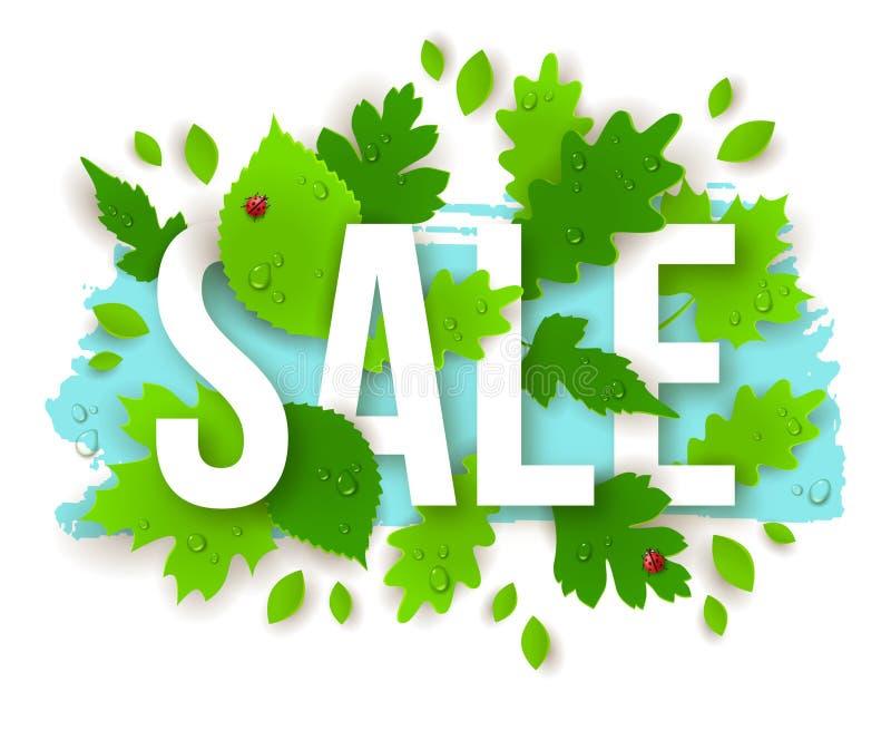 Texte de vente avec des feuilles de vert de ressort illustration de vecteur