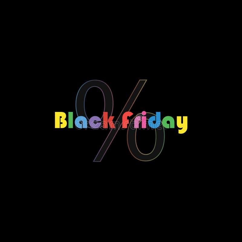 Texte de vente de Black Friday bannière dans le montant d'art de bruit Grande vente Les grands pour cent chantent avec le gradien illustration libre de droits