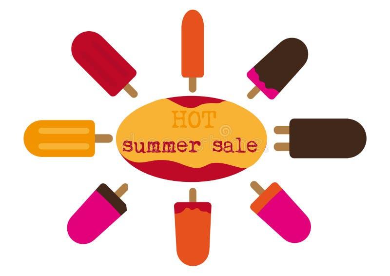 Texte de vente d'été, groupe de glaces à l'eau colorées illustration de vecteur