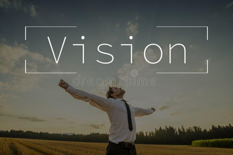 Texte de vision au-dessus d'homme d'affaires avec les bras ouverts photo stock