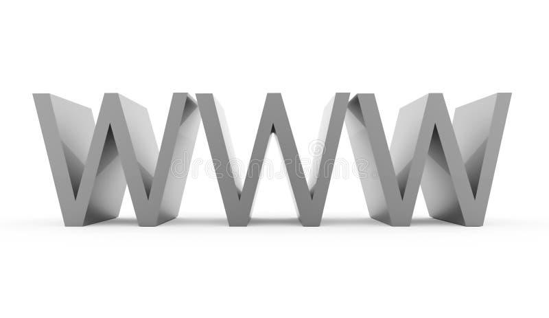 Texte de WWW d'isolement sur le fond blanc photos stock