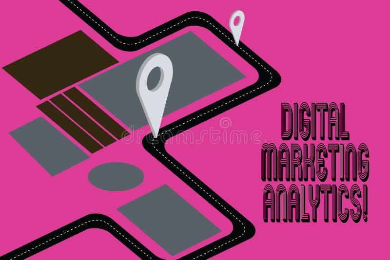 Texte Digital d'écriture de Word lançant l'Analytics sur le marché Concept d'affaires pour la métrique d'affaires de mesure comme illustration libre de droits