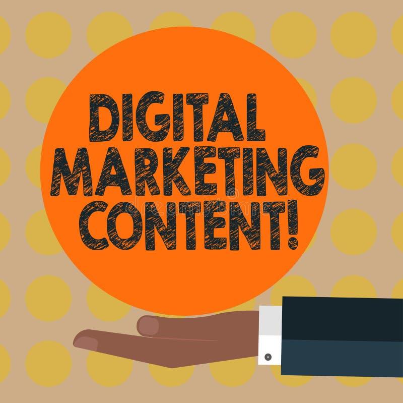 Texte Digital d'écriture de Word lançant le contenu sur le marché Concept d'affaires pour le contenu de distribution pour l'analy photographie stock