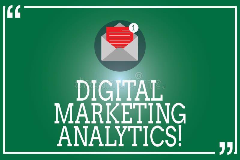 Texte Digital d'écriture lançant l'Analytics sur le marché Métrique d'affaires de mesure de signification de concept comme le tra illustration libre de droits