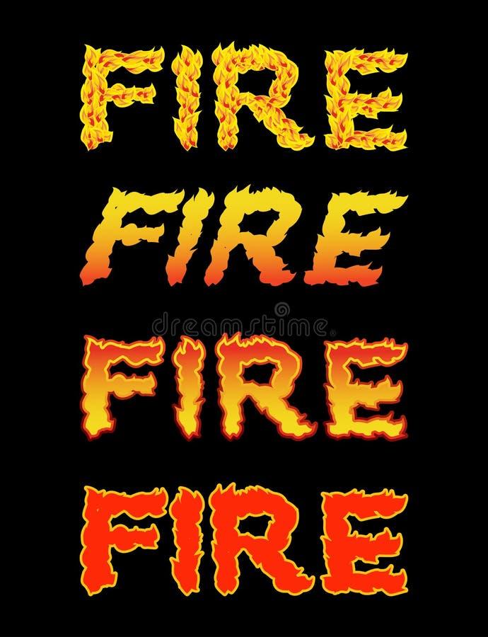 Texte du feu Typographie de flamme Lettres brûlantes lettrage ardent illustration libre de droits